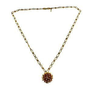 D'Orlan Long Gold Chain Necklace with Ball Pendant